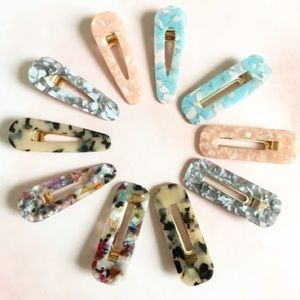 Anthropologie Squared Marble Hair Clip Set